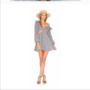 Lovers + Friends Gingham Check Asymmetrical Dress